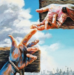 Two hands reaching for one another - both tied to crosses.