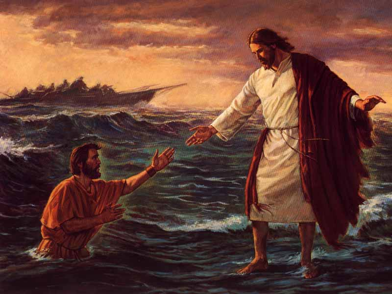 pictures of jesus walking on water. Jesus constrained his disciples to get into a ship and to go before him unto
