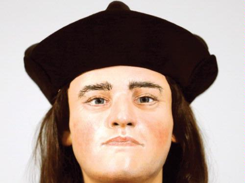A facial reconstruction of King Richard III is displayed at a news conference in central London, Tuesday. –– Reuters