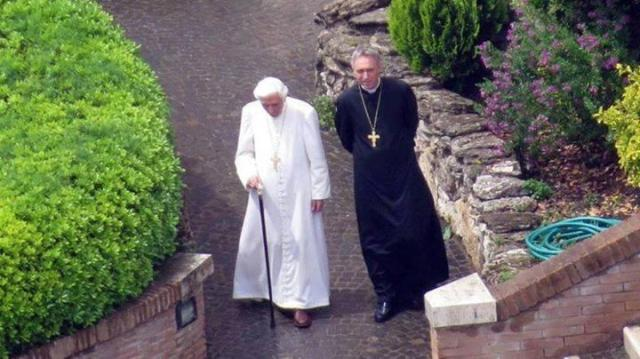 Benedict XVI on a stroll with Abp. Gänswein outside the Mater Ecclesiae monastery.