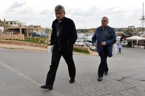 Archbishop Konrad Krajewski arriving at Lampedusa