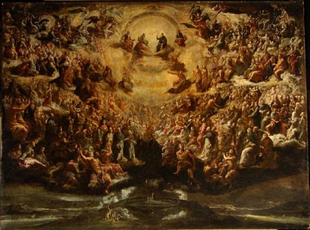 The Holy Trinity with saints in heaven, the Garden of Eden below - By Scipione Compagno