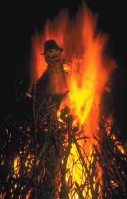 A 'guy' is burned in effigy in the bonfire