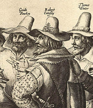 Three of the conspirators, including Catesby & Fawkes