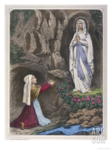The Virgin Mary reveals to Bernadette that she is the Immaculate Conception