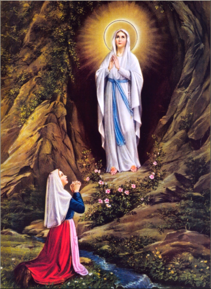 Our Lady's apparition to St. Bernadette at Lourdes