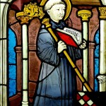Stained glass image of St. Bernard
