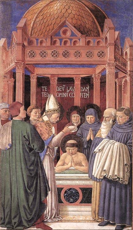 St. Ambrose baptising St. Augustine Benozzo Gozzoli (1464-65)