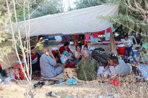 Refugees gathering at Erbil's Syriac-Catholic Mrtshmony Shrine.