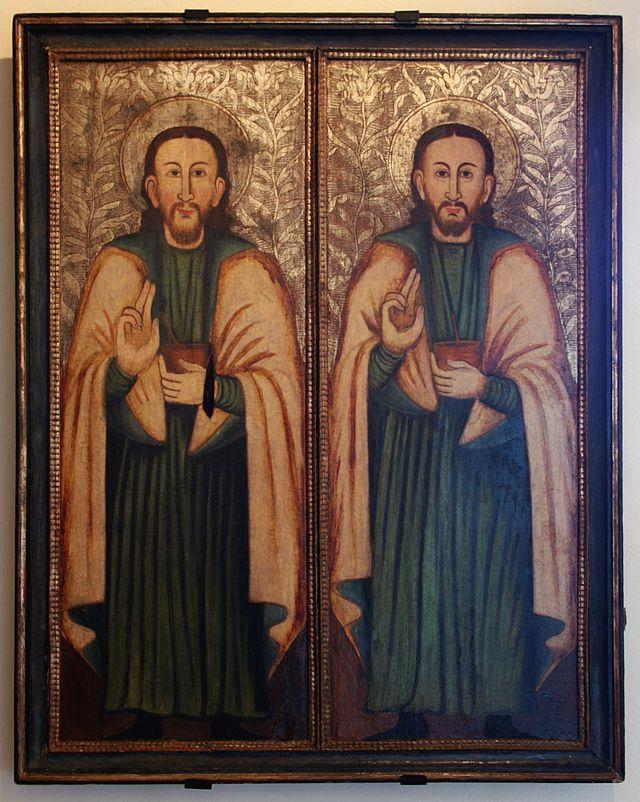 Icon of Saints Cosmas and Damian (17th century, Historic Museum in Sanok, Poland)