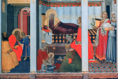 'Birth of the Virgin', 1342. From the collection of the Opera del Duomo, Siena.