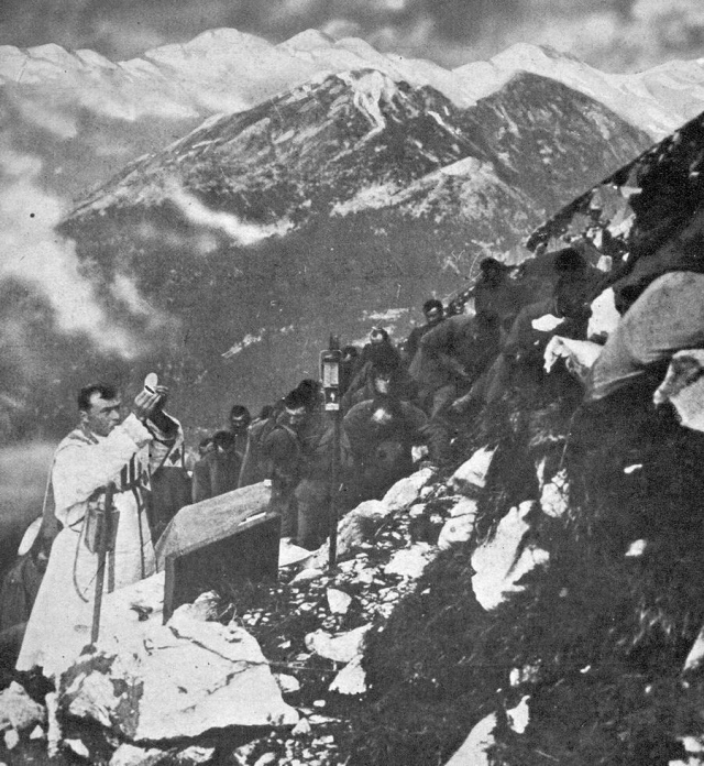 A priest says Mass for Italian troops in the mountains of the Tyrol during WW2