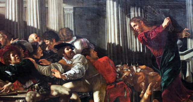 "Detail from ""Christ Expels Money Changers Out of Temple"" painted by Cecco del Caravaggio in 1610."