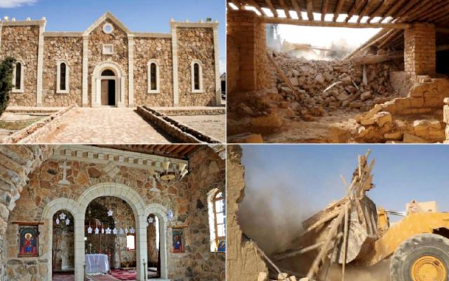 The Monastery of Mar Elian before and after its destruction by ISIS fighters