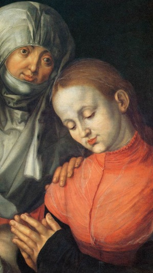 The image is a detail from Dürer's Virgin and Child with Saint Anne (1519)
