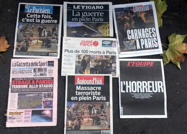 "Newspaper front pages talk of ""war in central Paris"", horror and carnage"