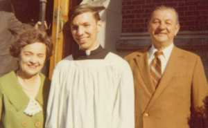 Fr. Peter Stravinskas with his parents, Peter and Anne, on the day he became a cleric in 1972.