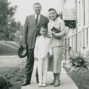 First Holy Communion day. The family started attending Mass on Sunday after Peter Jr. returned home from school and told his parents the lesson he learned about hell. Newark, May, 1958.