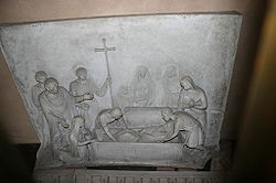 Fourth century Christian burial depicted in relief at the Shrine of San Vittore in ciel d'oro, Basilica of Sant'Ambrogio, Milan.