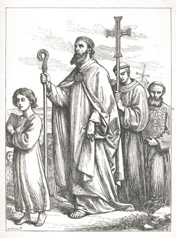 St. Patrick preceded by the boy Benignus, who enters the fire on the Saint's order