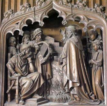 St. Patrick, right, appears before the King of Tara and the Druid priests