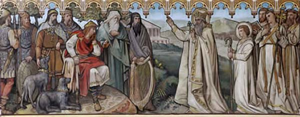 St. Patrick and his company before the King and his court