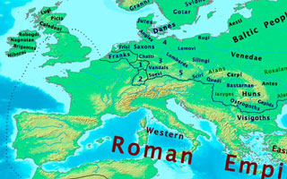 Above: c. 400 CE, in Patrick's childhood, Britain was part of an intact Western Roman Empire.