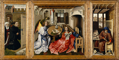 "Triptych with the Annunciation, known as the ""Merode Altarpiece"" by Robert Campin"