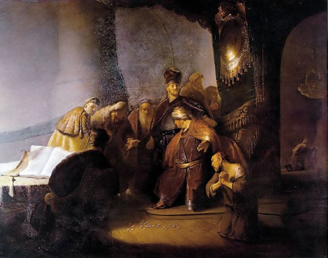 Judas Returning the Thirty Silver Pieces - Rembrandt, 1629.