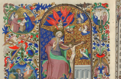 Annunciation and Crucifixion, from BL Add. 18850, f. 204v
