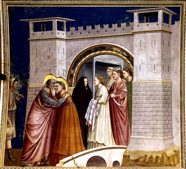 Giotto di Bondone (1267-1337) depicts the meeting of Joachim and Anna at the Golden Gate.