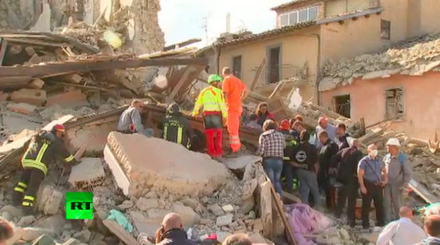 "Rescue efforts taking place in Amatrice. The town's mayor has said half the town ""isn't there anymore."""