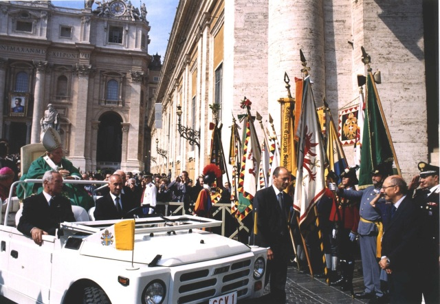 Beatification Mass of Blessed Karl presided over by Pope Saint John Paul II, 2004. Note the banner of Blessed Karl in the background.